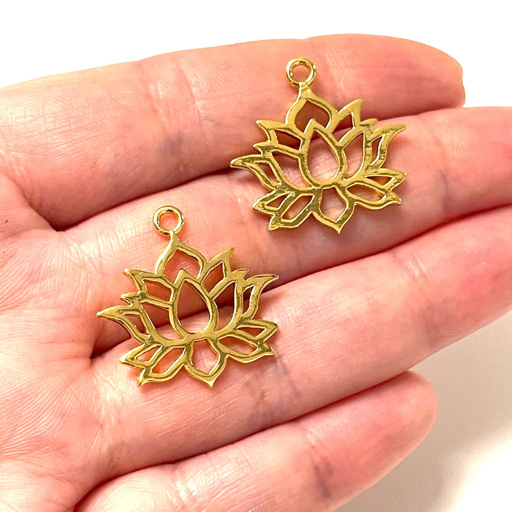 24Kt Shiny Gold Plated Brass Lotus Charms, Gold Lotus Charms, 2 pcs in a pack