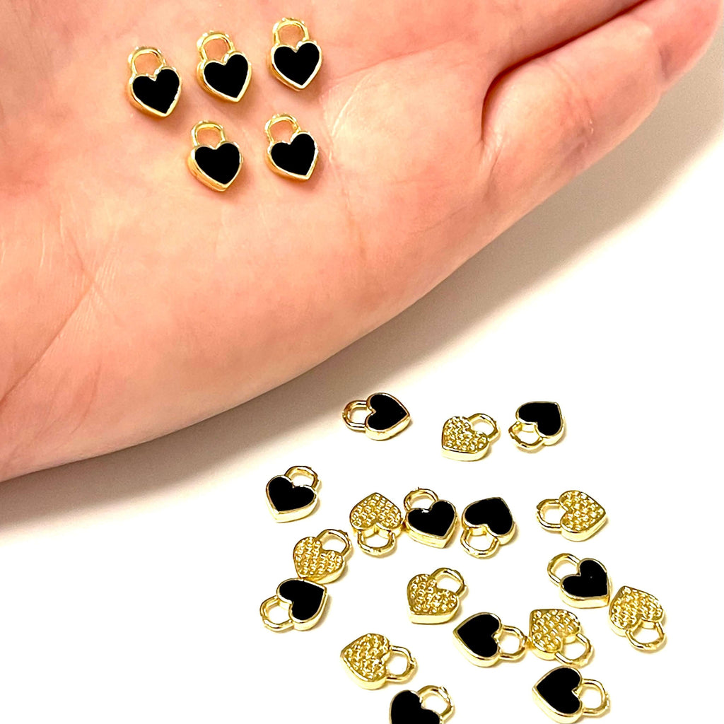 24Kt Gold Plated Brass Heart Charms, Gold Plated Heart Black Enamelled Charms, 5 pcs in a pack