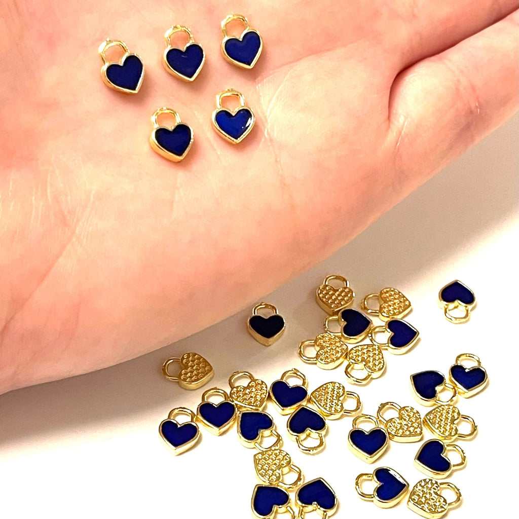 24Kt Gold Plated Brass Heart Charms, Gold Plated Heart Navy Enamelled Charms, 5 pcs in a pack