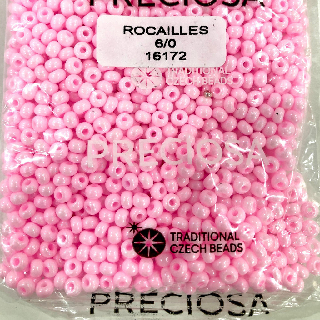 Preciosa Seed Beads 6/0 Rocailles-Round Hole 20 gr, 16172 Pink Dyed Chalkwhite