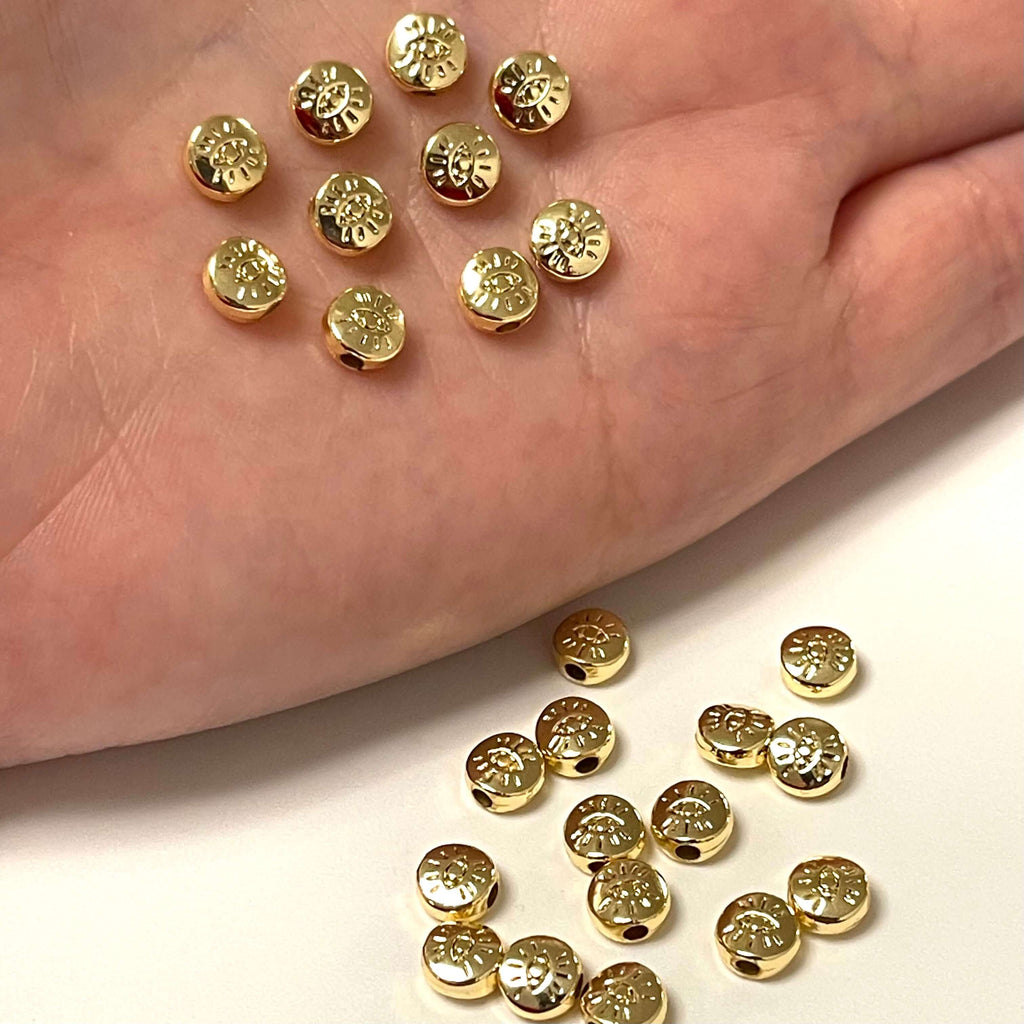 24Kt Gold Plated 6mm Spacer Flat Balls With Eye, 6mm Gold Spacer Flat Balls,  10 pcs in a pack