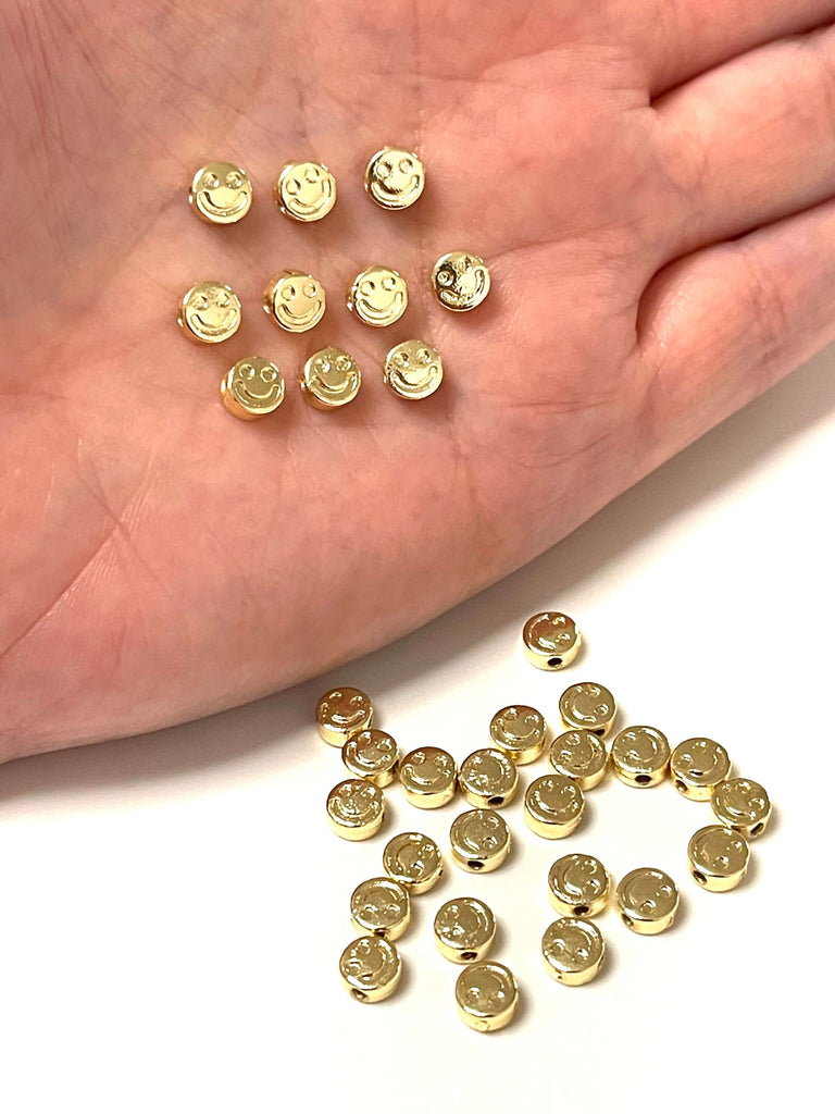 24Kt Gold Plated Smiley Face Spacer Charms, Smiley Face Spacers, 10 pcs in a pack