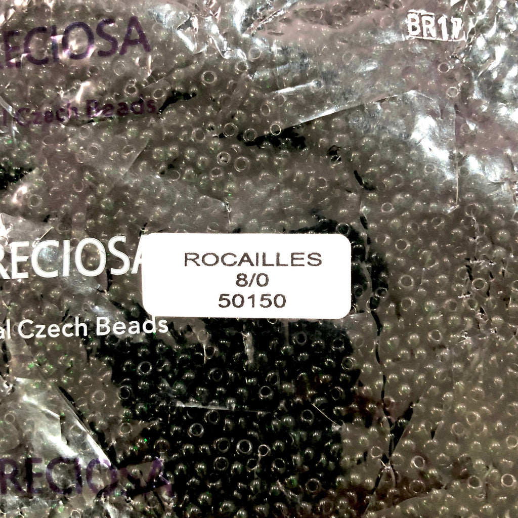 Preciosa Seed Beads 8/0 Rocailles-Round Hole 20 gr, 50150 Transparent Dark Green