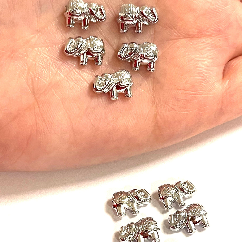 Silver Plated Elephant Spacers, 5 Pcs in a Pack