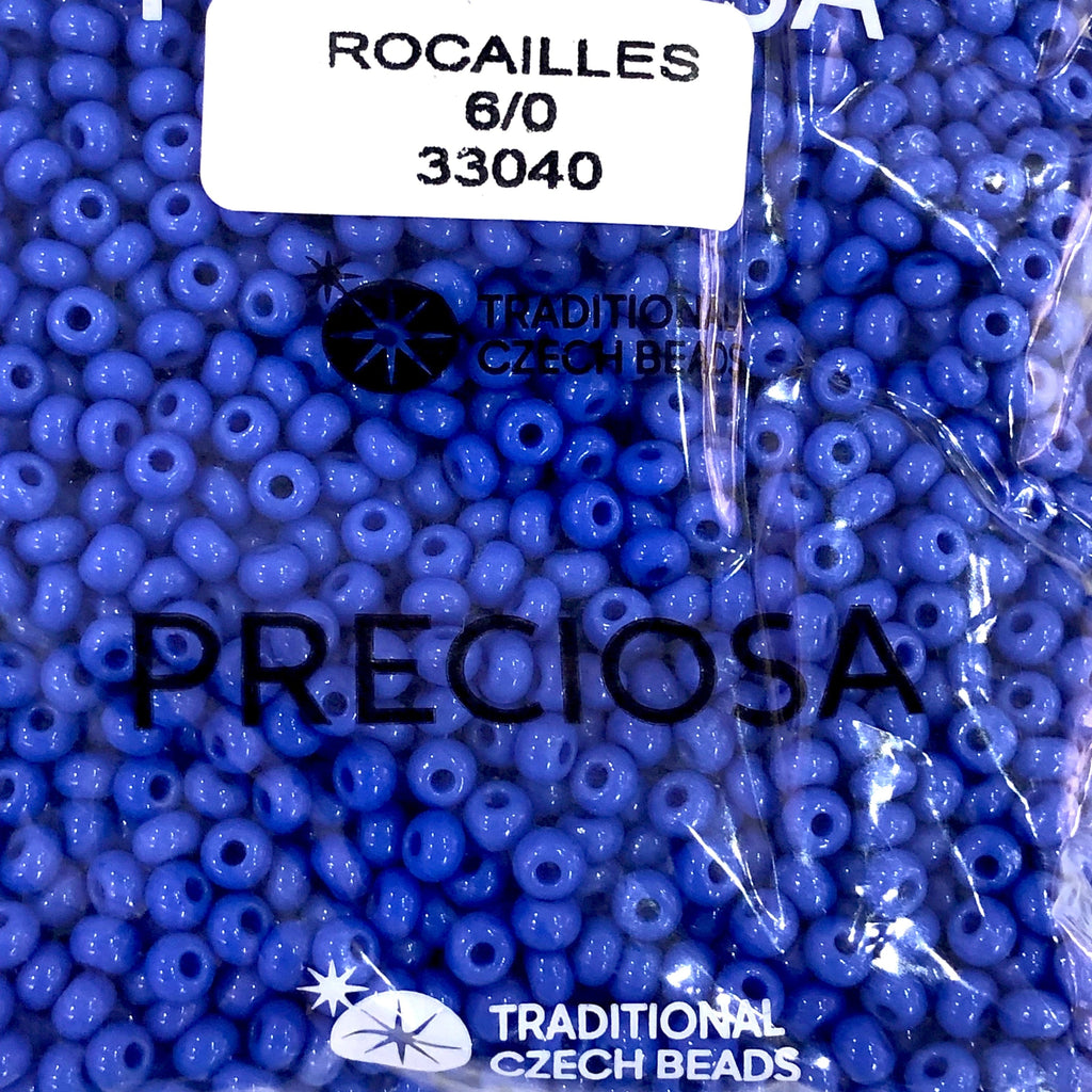 Preciosa Seed Beads 6/0 Rocailles-Round Hole 20 gr, 33040 Opaque  Blue