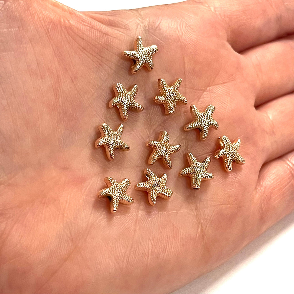 Rose Gold Plated Starfish Spacer Charms, 10 pcs in a pack
