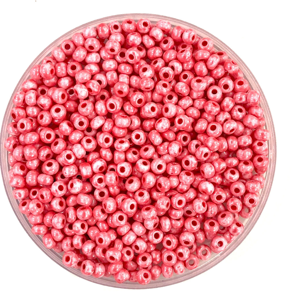 Preciosa Seed Beads 6/0 Rocailles-Round Hole 20 gr, 26298 Chalkwhite Red Speckled