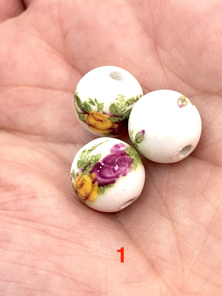 Round Porcelain Ceramic Beads for Jewellery Making 12 mm, 12 Colors&Patterns