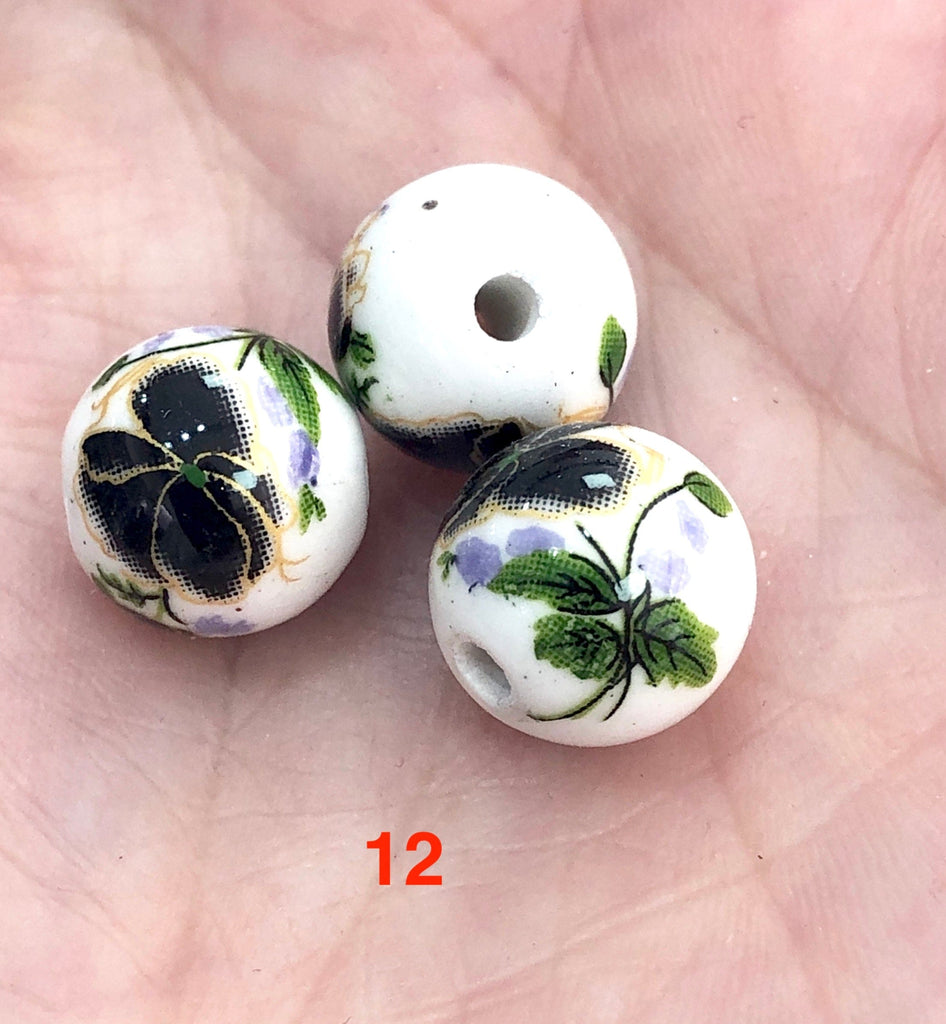 Round Porcelain Ceramic Beads for Jewellery Making 12 mm, 12 Colors&Patterns, 10 pieces in a pack