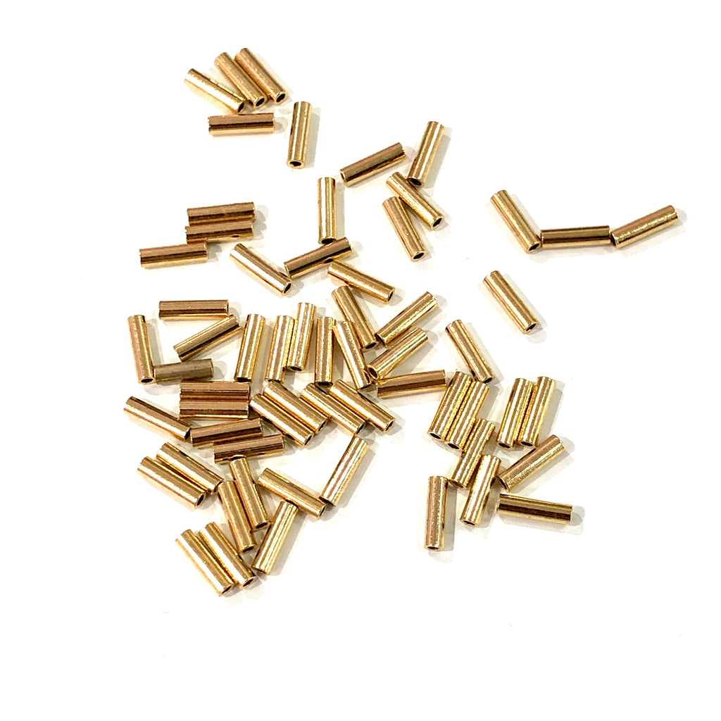 7mm Tube Bead, Spacer Tube Beads, 24 Kt Gold Plated, Gold Spacer Tubes, 50 Pcs in a pack