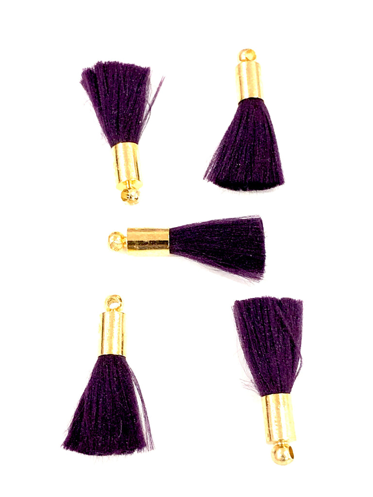 Dk. Purple Mini Silk Tassels with 24k Gold Plated Caps, 5 Tassels in a pack
