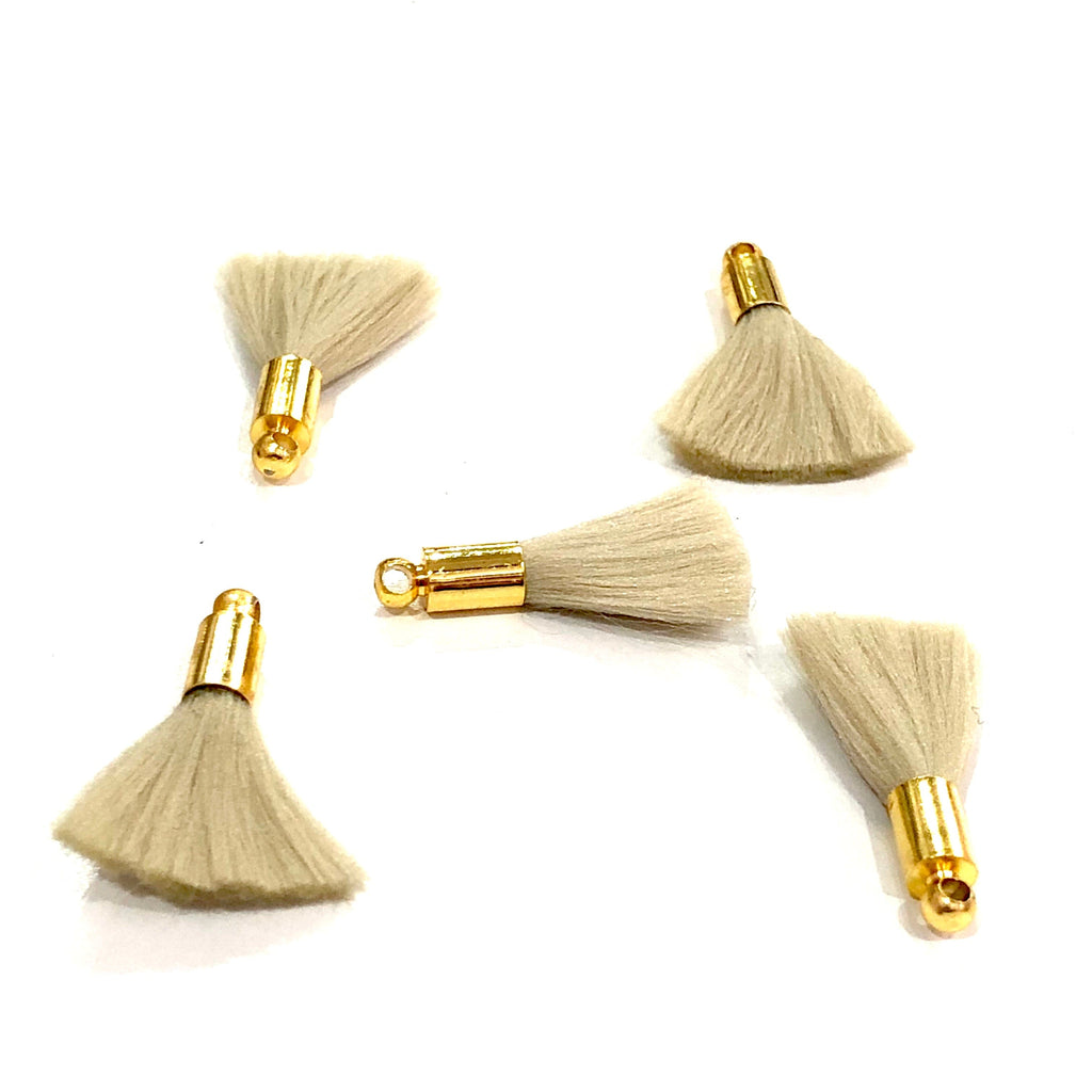 Beige Mini Silk Tassels with 24k Gold Plated Caps, 5 Tassels in a pack
