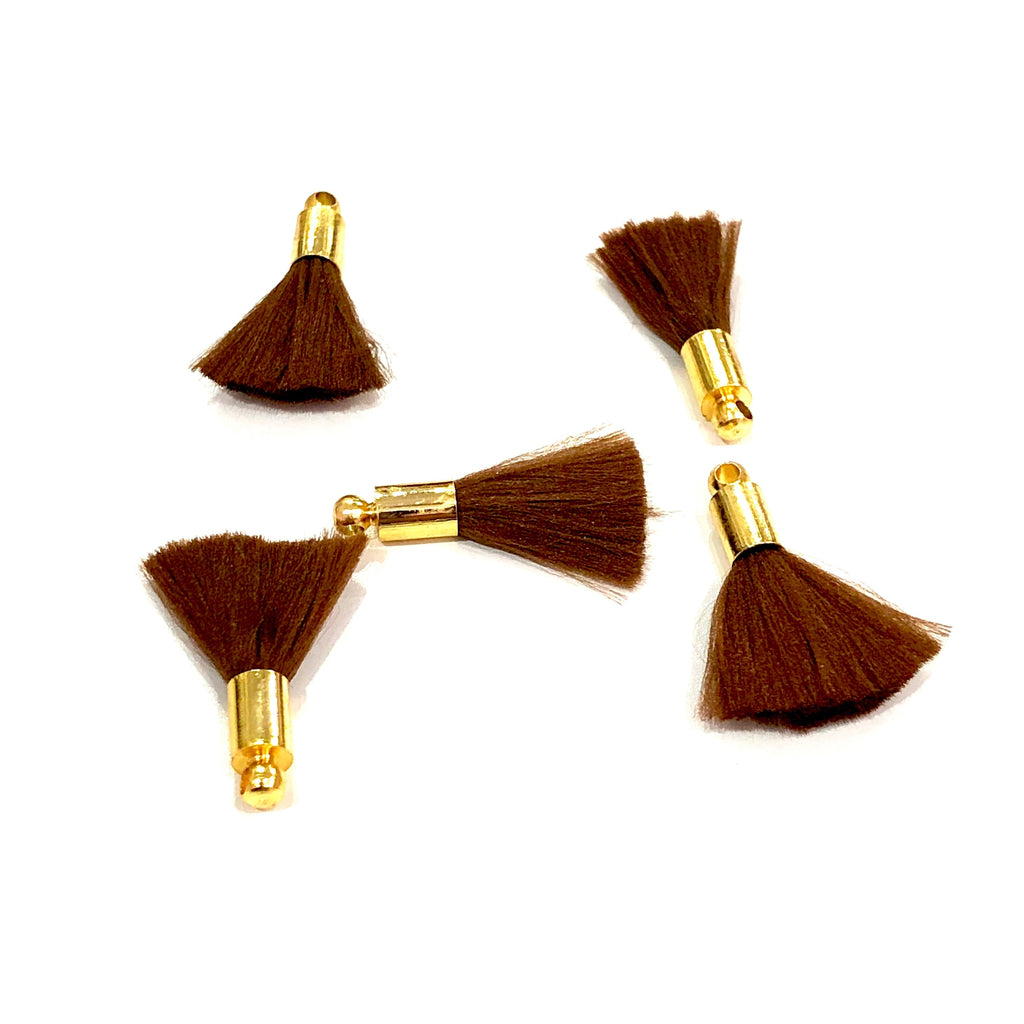 Brown Mini Silk Tassels with 24k Gold Plated Caps, 5 Tassels in a pack