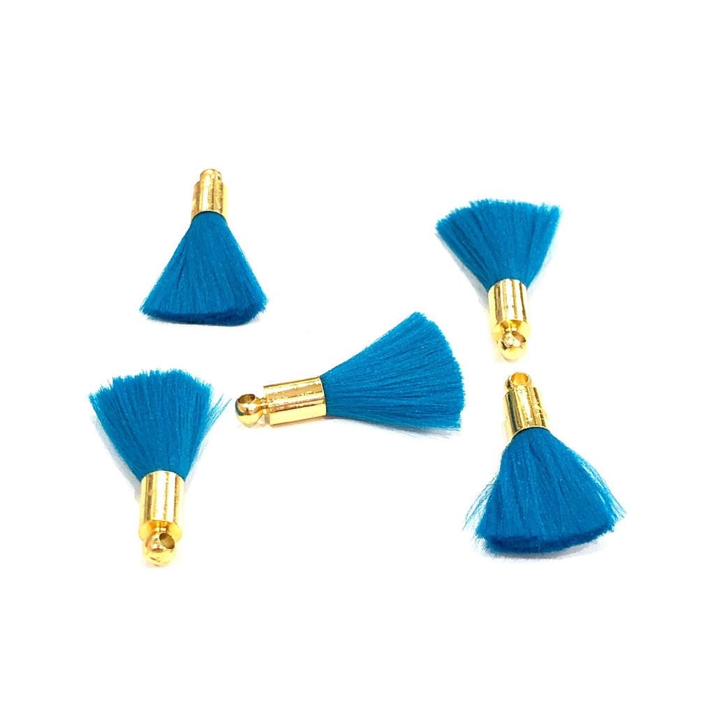 Blue Mini Silk Tassels with 24k Gold Plated Caps, 5 Tassels in a pack