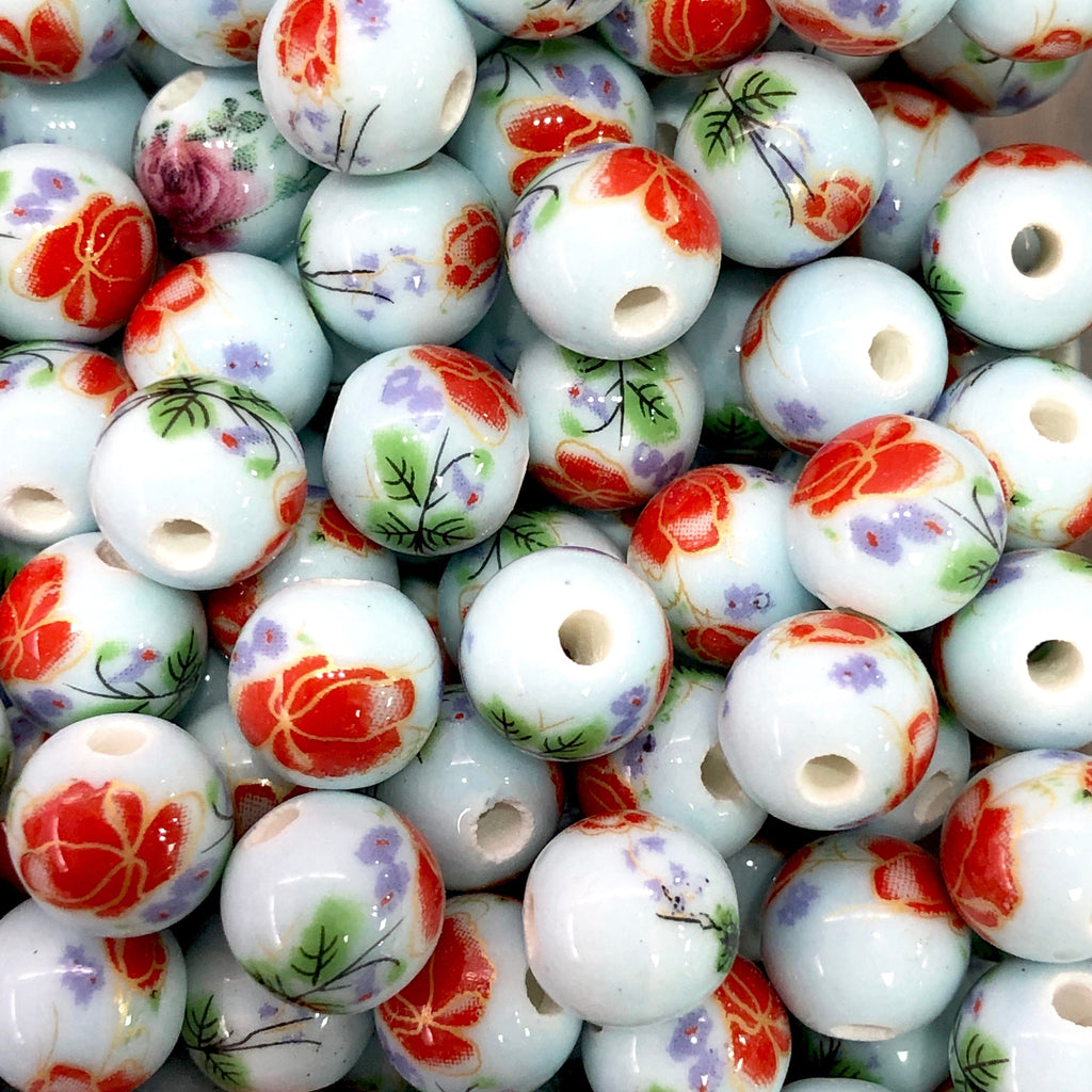 Round Porcelain Ceramic Beads for Jewellery Making 10mm,  10 pieces in a pack