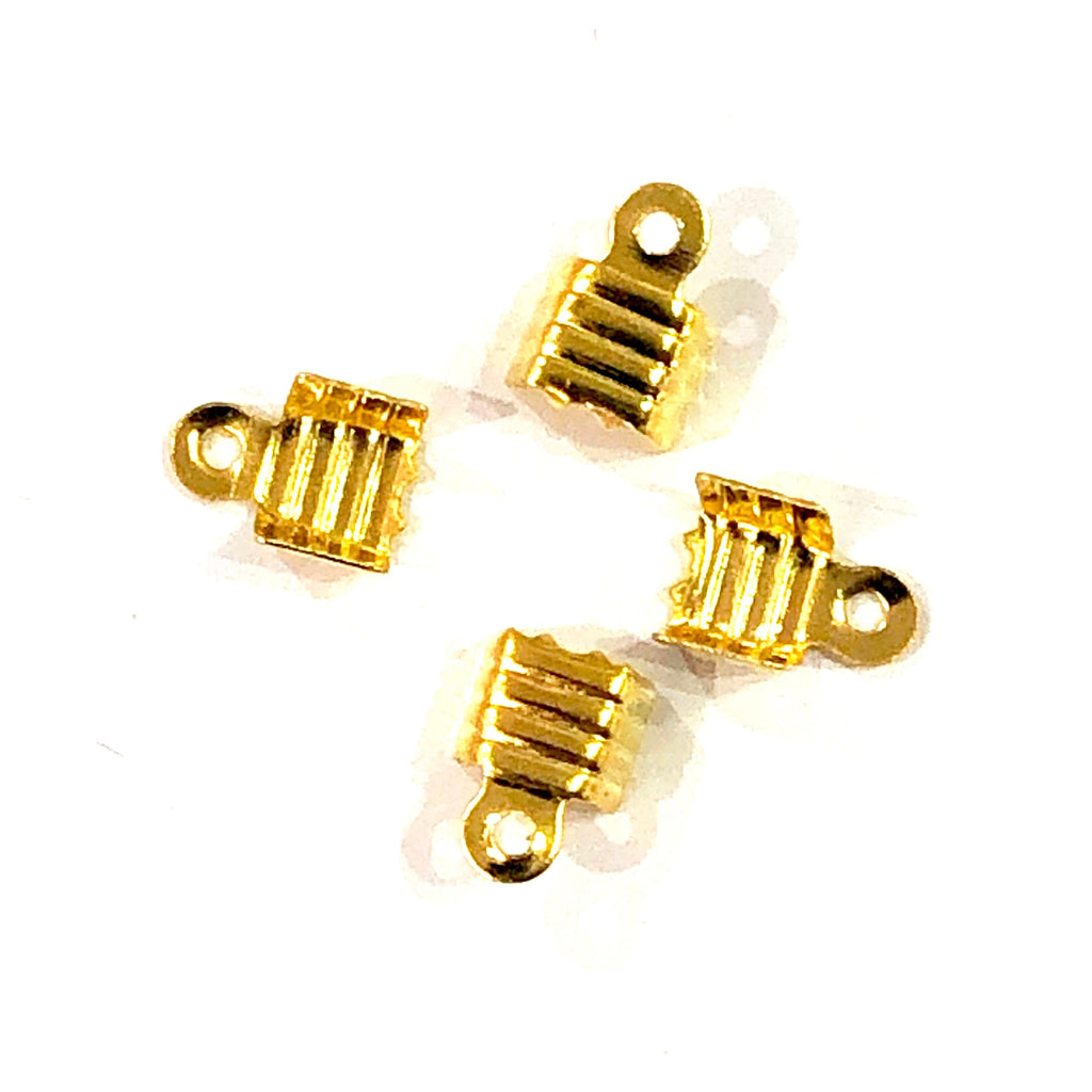 Gold  Fold Over Crimp, Leather end Cap, leather end clasp, ribbon crimp end, metal connector, 5x4,5 mm