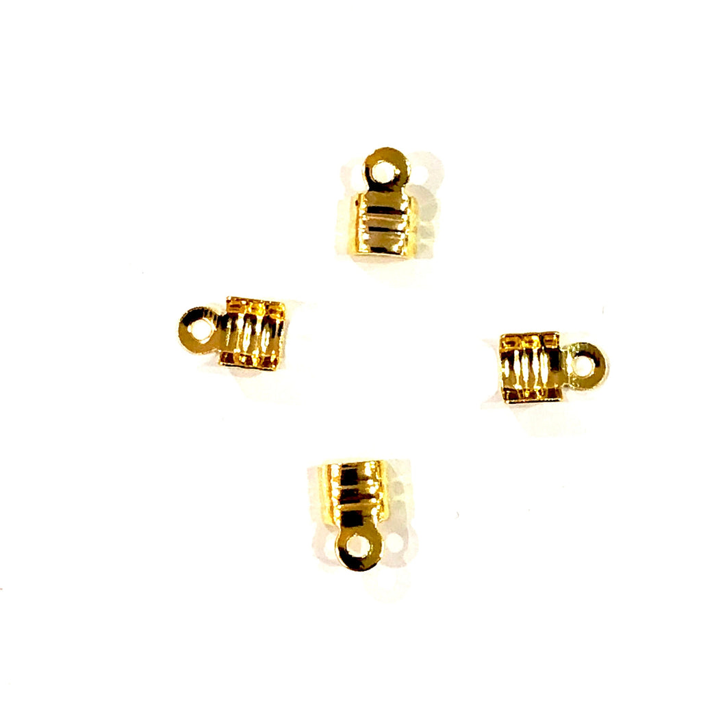 Gold Fold Over Crimp, Leather end Cap, leather end clasp, ribbon crimp end, metal connector, 4x4 mm