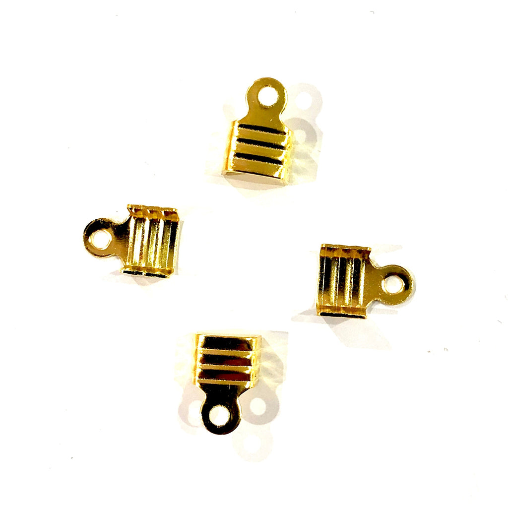 Gold Fold Over Crimp, Leather end Cap, leather end clasp, ribbon crimp end, metal connector, 5.5x7 mm