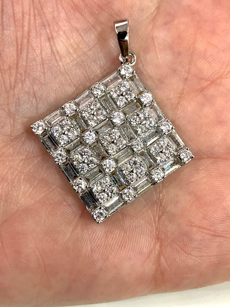 Zircon Pendant, Hand Made Clear Zircon Pendant