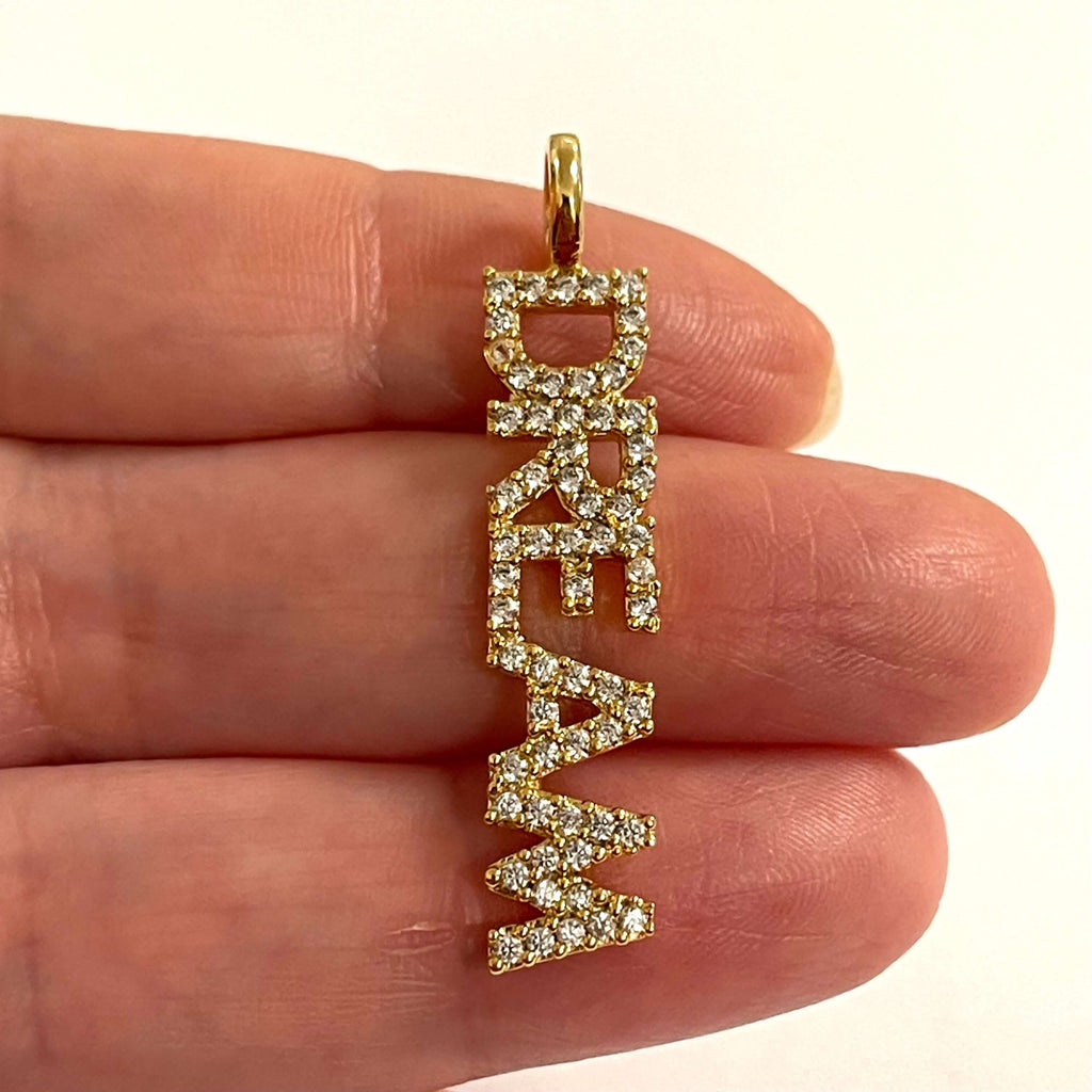3 in one pack 24Kt Gold Plated Brass Micro Pave Zirconia Love,Happy,Dream Pendants