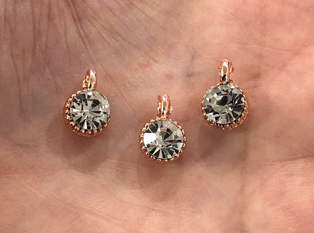 Cubic Zirconia CZ, Rose Gold Plated Charms, 3 Pcs in a pack