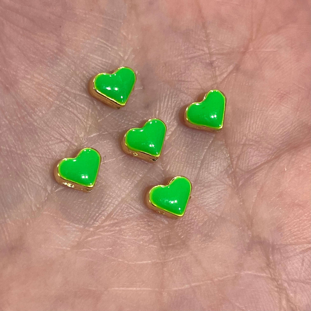 24Kt Shiny Gold Plated Neon Green Enamelled Heart Spacer Charms, 5 pcs in a pack