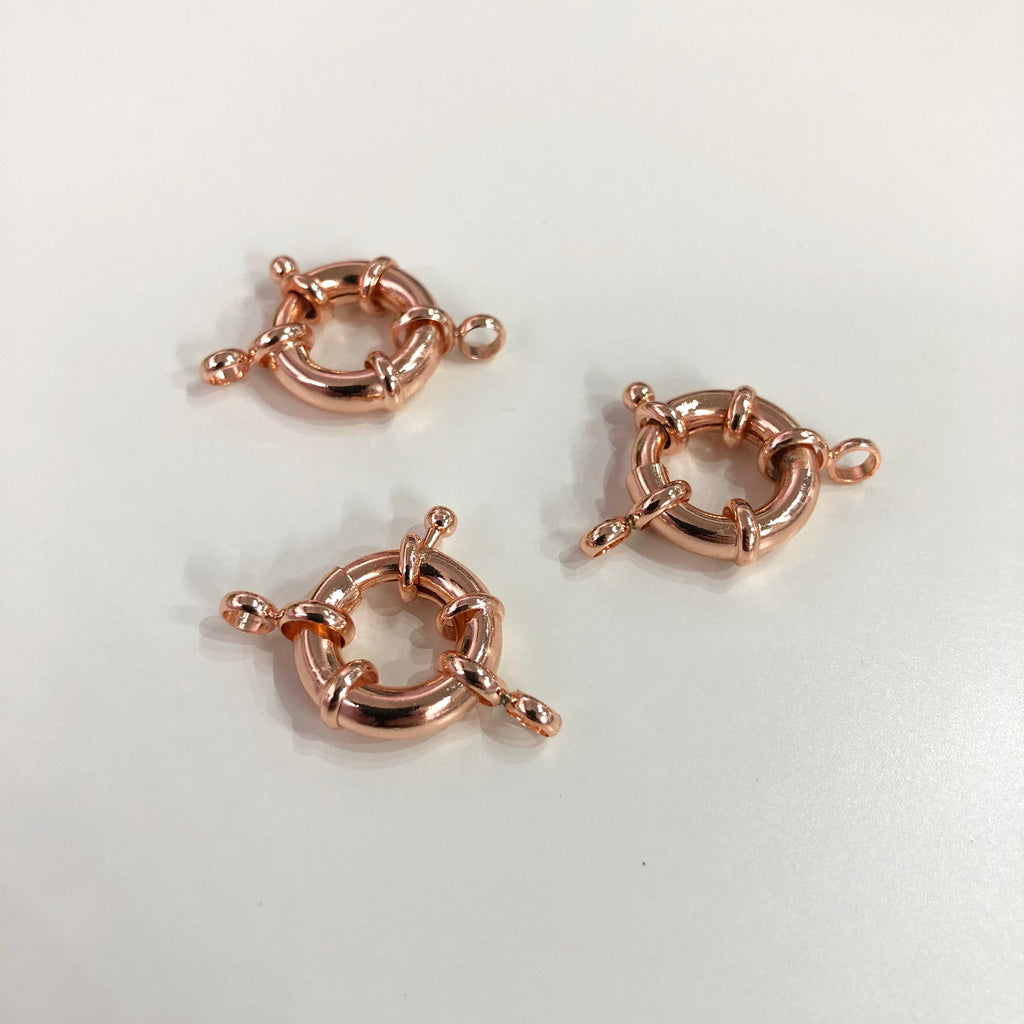 Rose Gold Spring Ring Clasp with Loops, Rose Gold Plated Spring Clasp, Rose Gold Trigger Clasp,