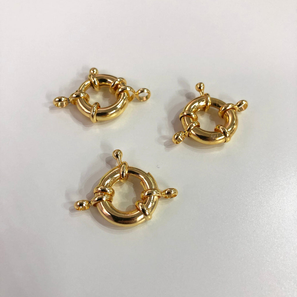 Gold Spring Ring Clasp with Loops, 15mm Gold Plated Spring Clasp, Gold Trigger Clasp,