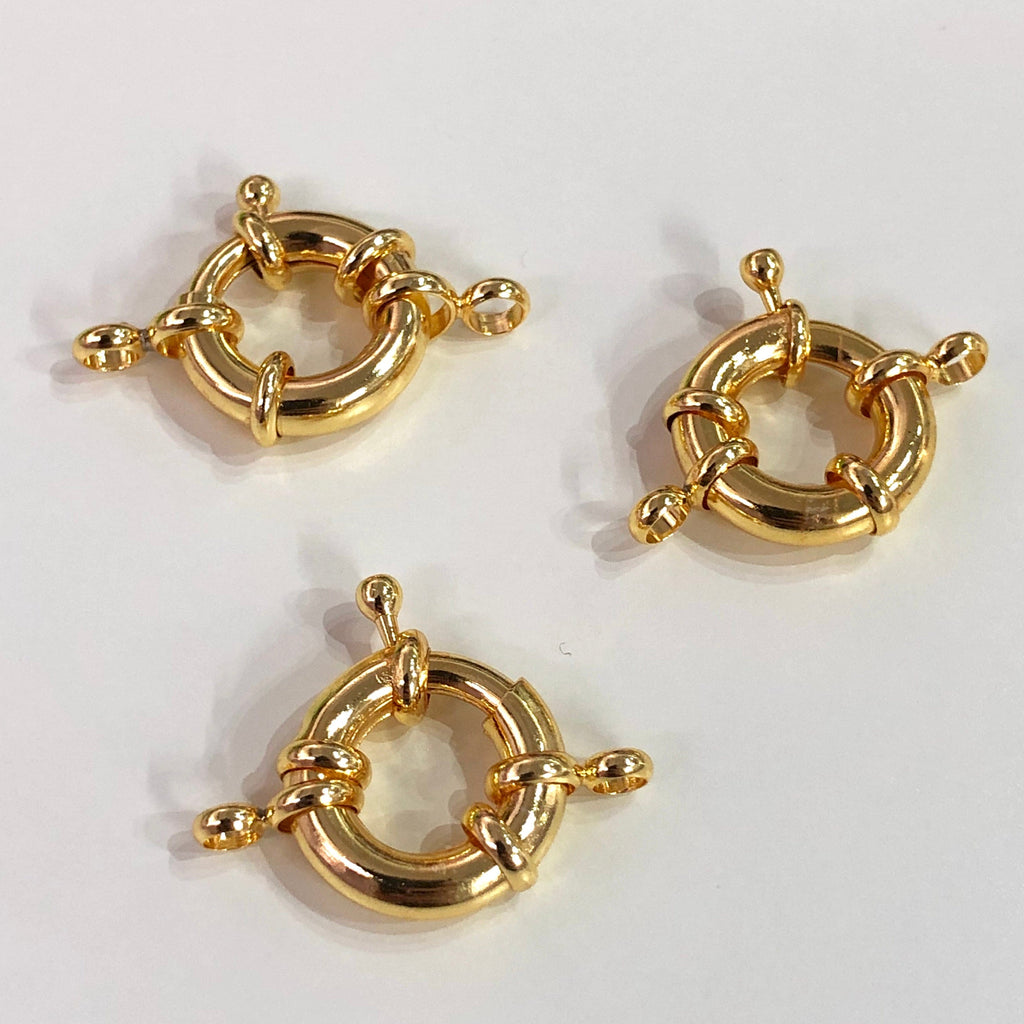 Gold Spring Ring Clasp with Loops, 13mm Gold Plated Spring Clasp, Gold Trigger Clasp,