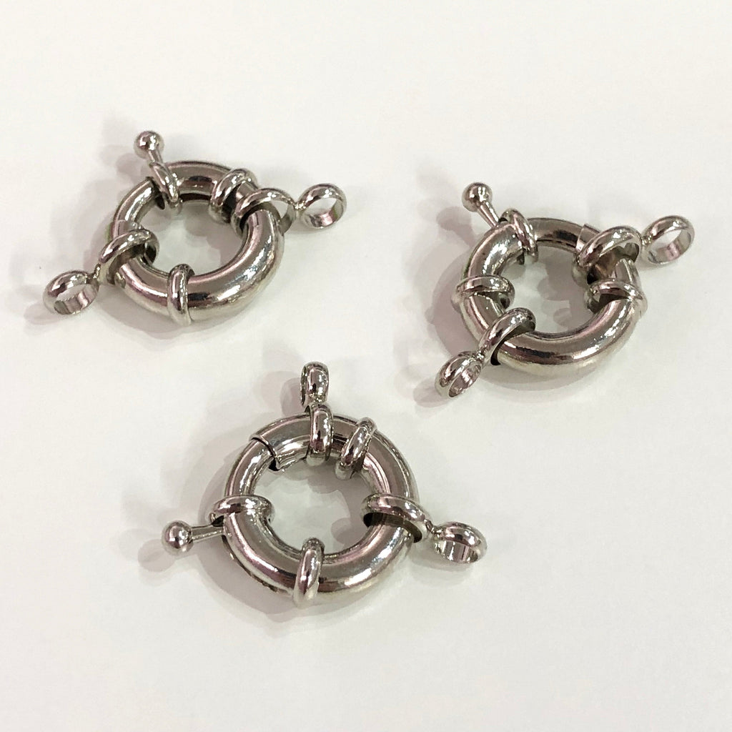 Silver Spring Ring Clasp with Loops, 17mm Silver Plated Spring Clasp, Silver Trigger Clasp,