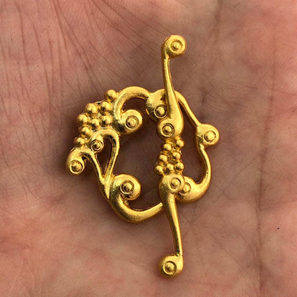 Gold Toggle Clasp, 22k Gold Plated Brass Toggle Clasp, Floral Toggle Clasp