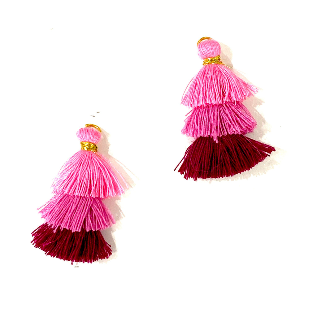Three Tiered Tassels, Triple Fringe Jewelry Pendants, 2 pcs per order
