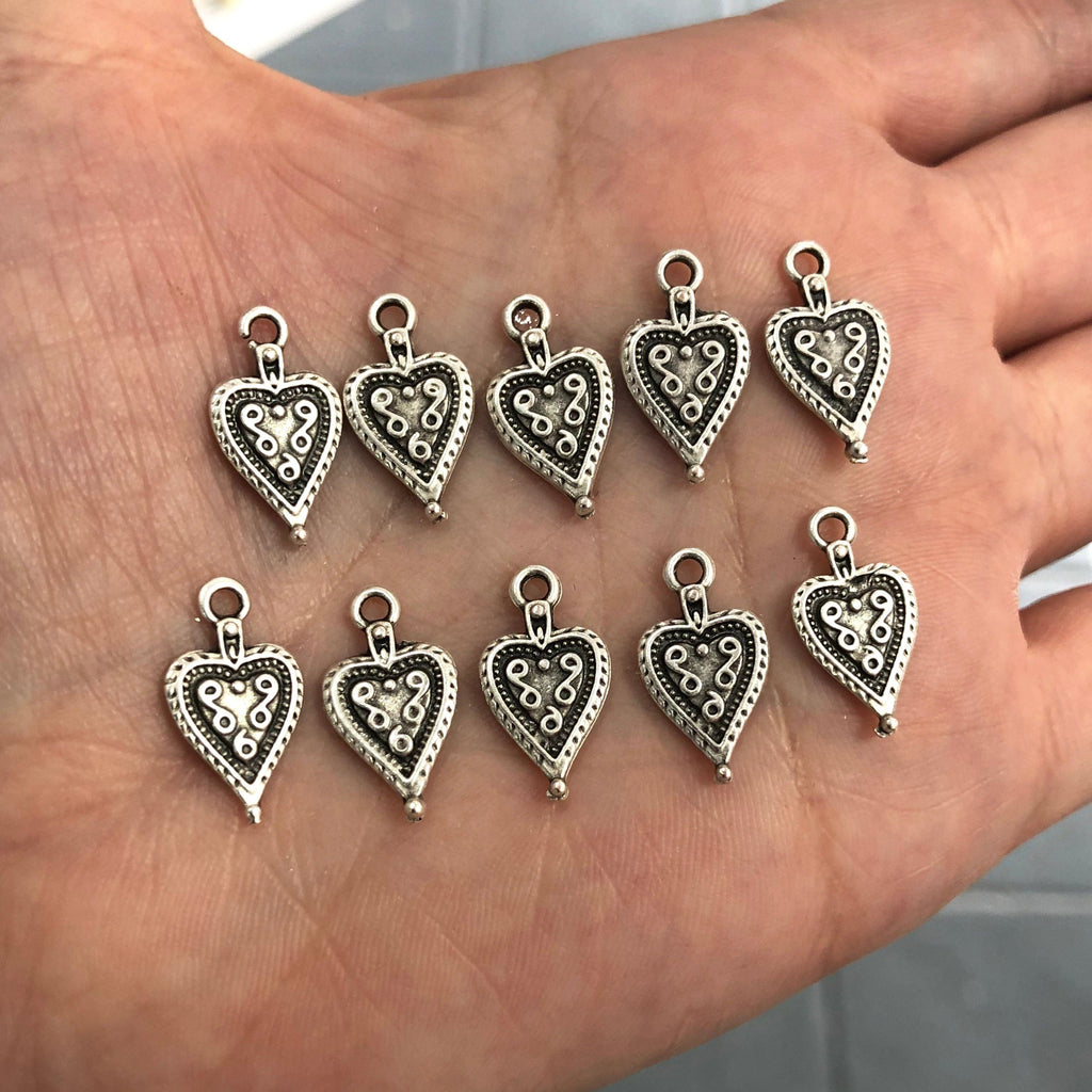 Tiny Heart Charms, Tiny  Heart Pendants, 10 pieces in pack