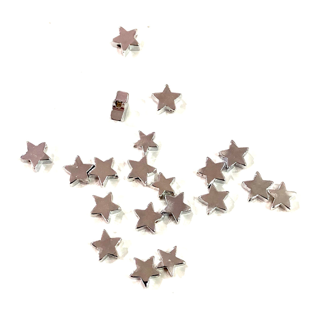 Silver Plated Star Spacer Charms, 6mm Silver  Star Charms, 100 pcs in a pack