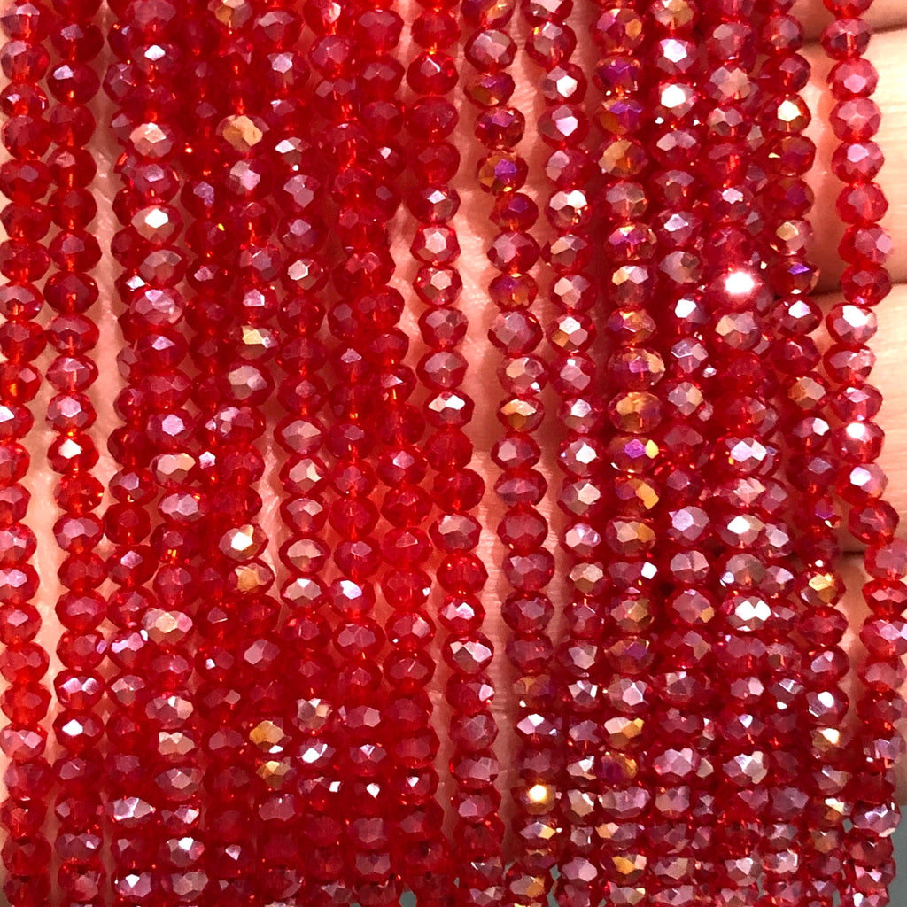Crystal faceted rondelle - 150 pcs -3mm - full strand - PBC3C50, Crystal Beads,Beads, glass beads, beads crystal rondelle beads