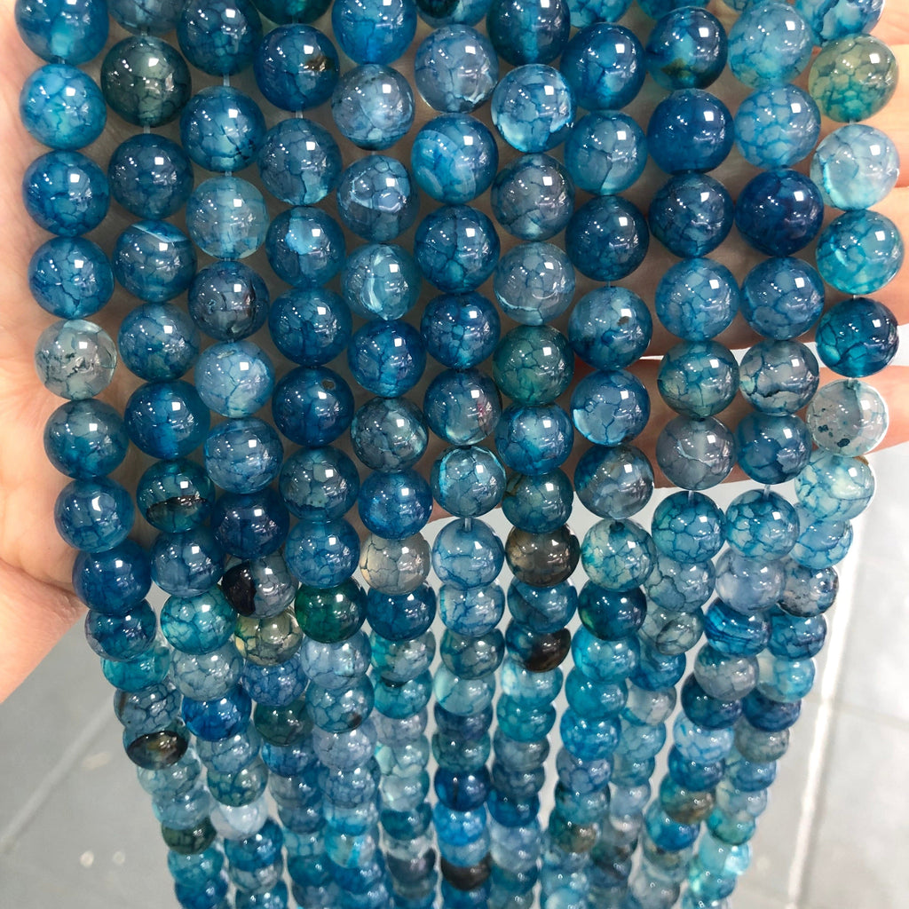 Blue Agate Smooth Round 10mm, 40 beads per strand,Beads,Gemstone Beads,Natural Gemstone