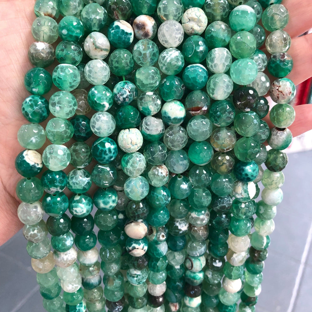 Green Agate Gemstone Beads, Agate faceted 10mm, 40 beads per strand,