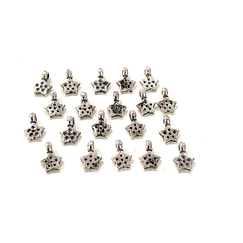 Silver Star Charms, Silver Plated Brass Star Charms, Tiny Star Charms, 20 pcs in a pack