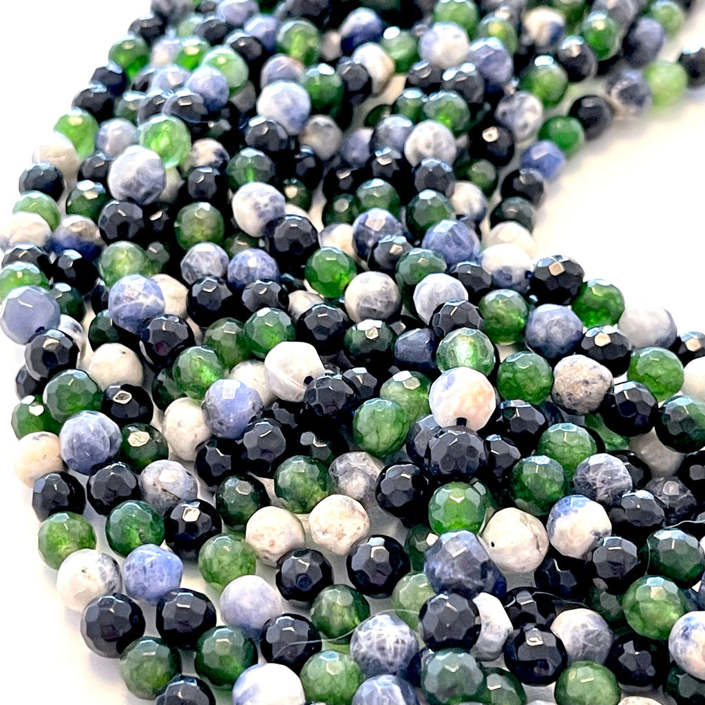 6mm Multicolor Jade Faceted Round Gemstone Beads, 64 Beads