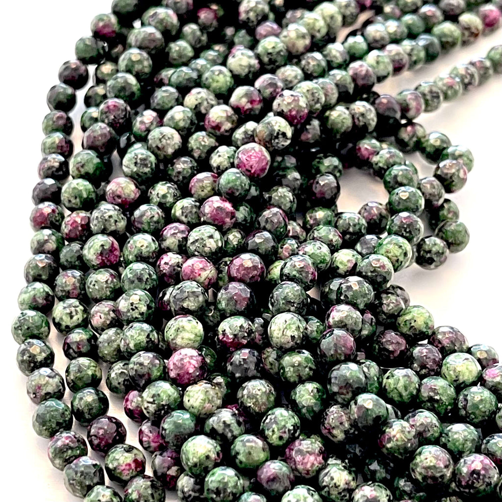 6mm Ruby Zoisite Faceted Round Gemstone Beads, 63 Beads