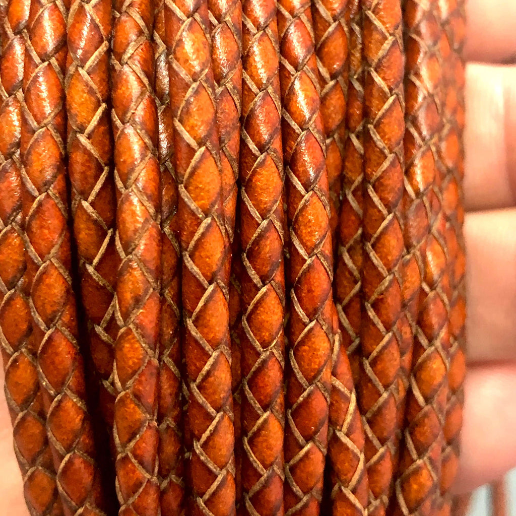 3mm Natural Leather Braided Cord, Bolo Braided Leather Cord