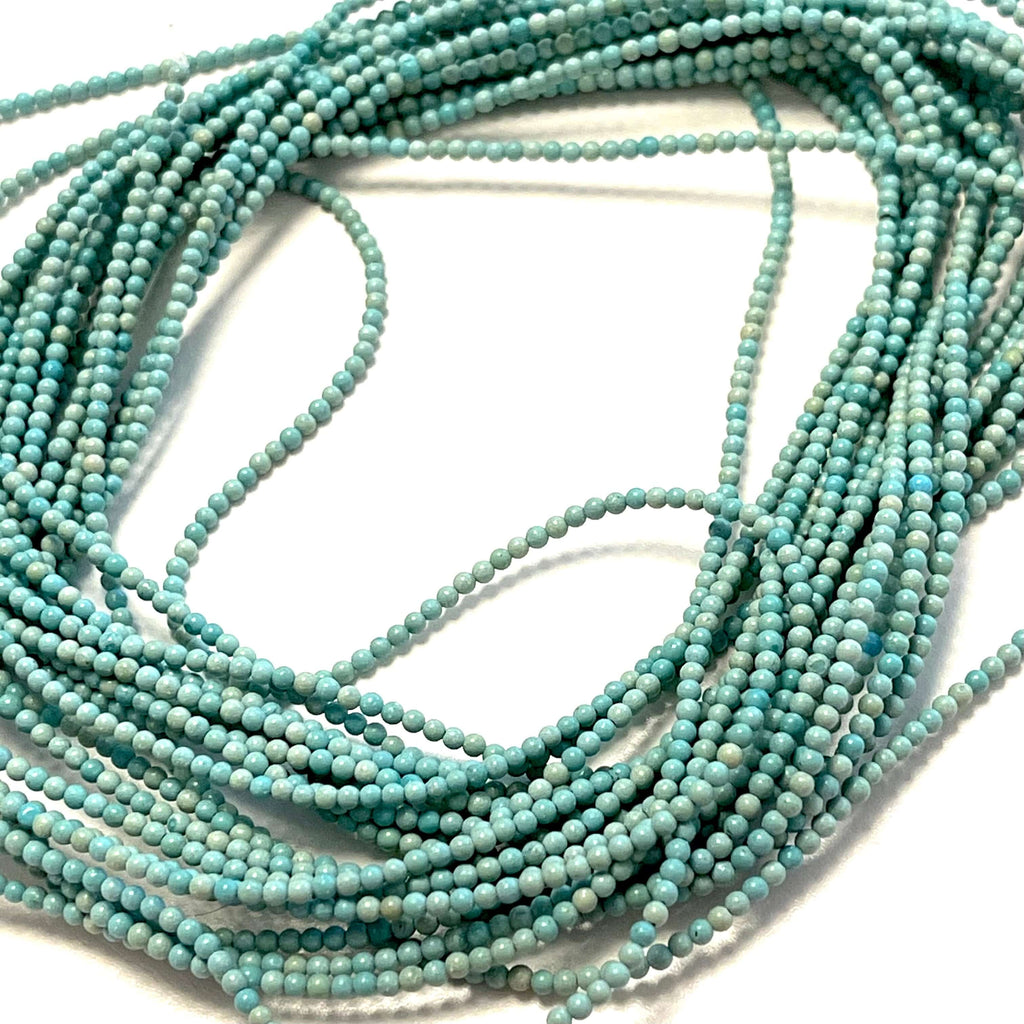 2mm Turquoise Smooth Round Gemstone Beads, 174 Beads