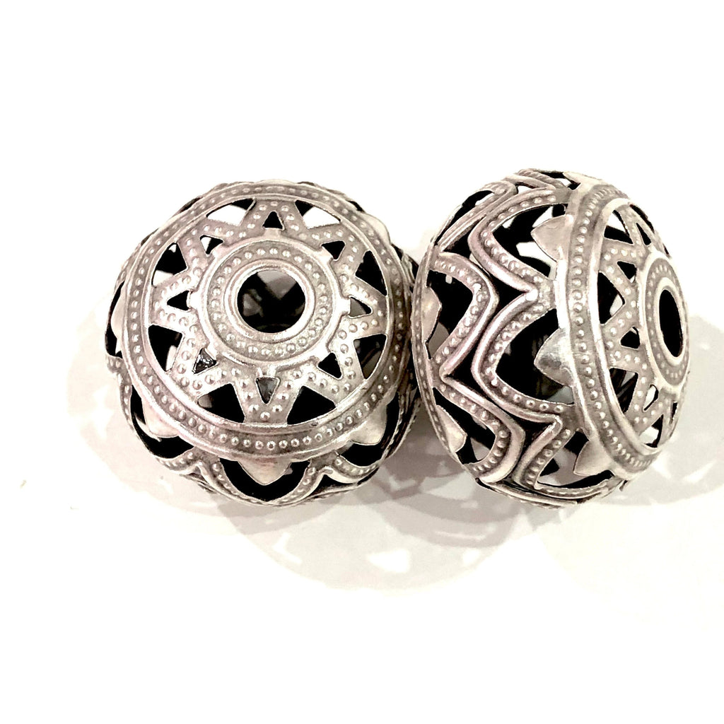Antique Silver Plated Filigree Ball Charms, Silver Plated Filigree Ball Pendants