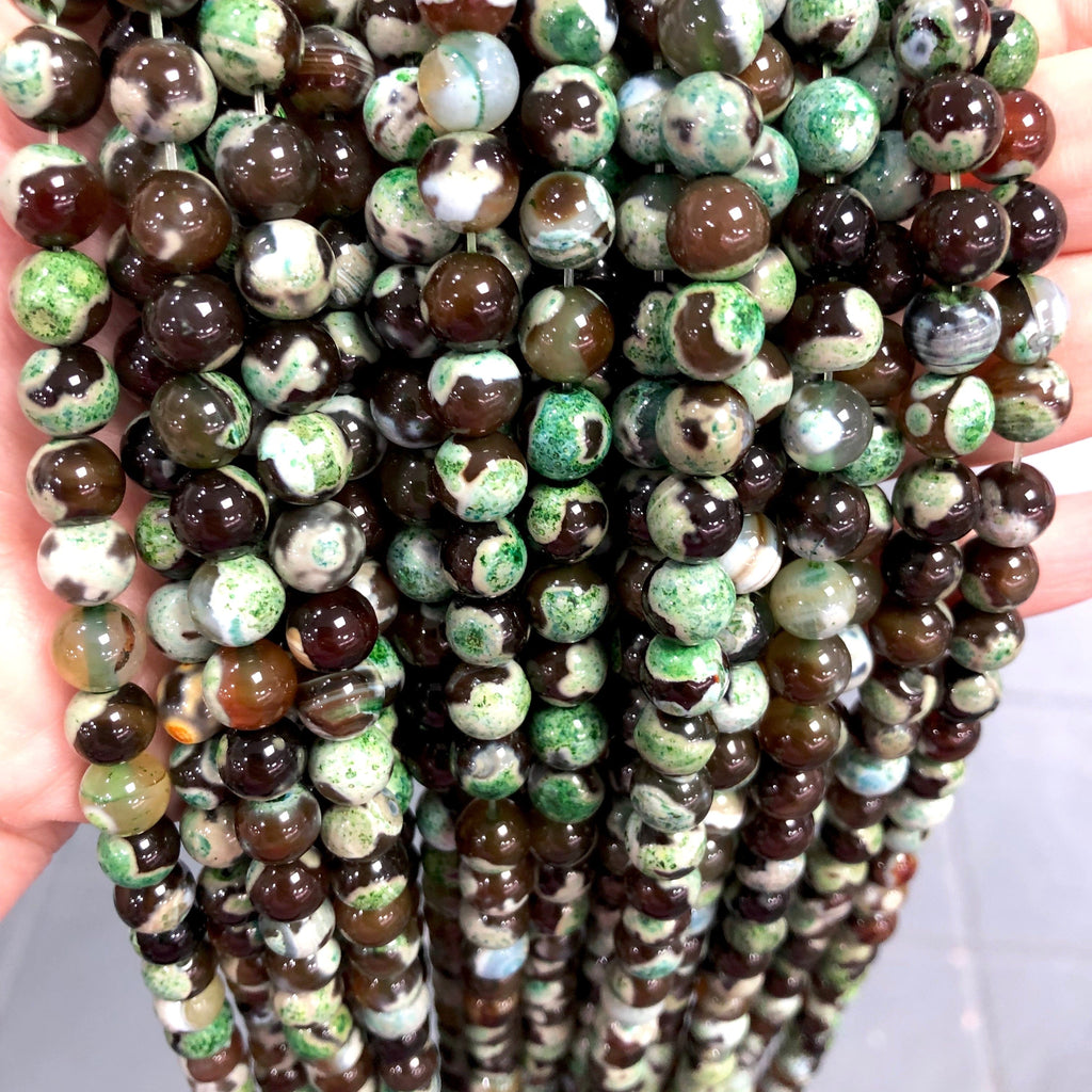 Agate Gemstone Beads, Brown-Green Agate smooth round 8mm, 47 beads per strand,Beads,Gemstone Beads,Natural Gemstone