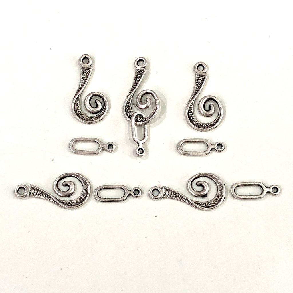 Antique Silver Plated  Clasp, Silver Plated Connector Charm