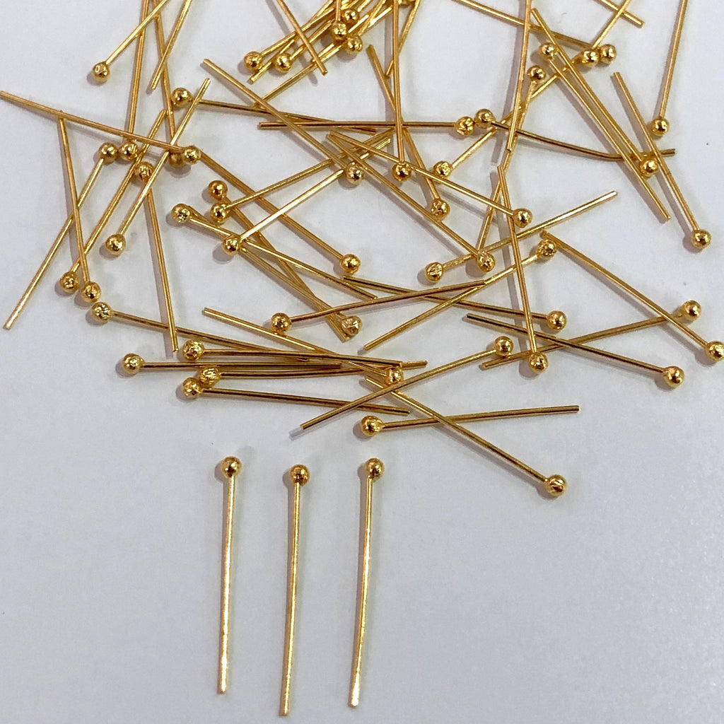 Gold Ballpoint Headpins, 0.5mm (24 Gauge) by 30mm, Gold Plated Brass Ball Head Pins