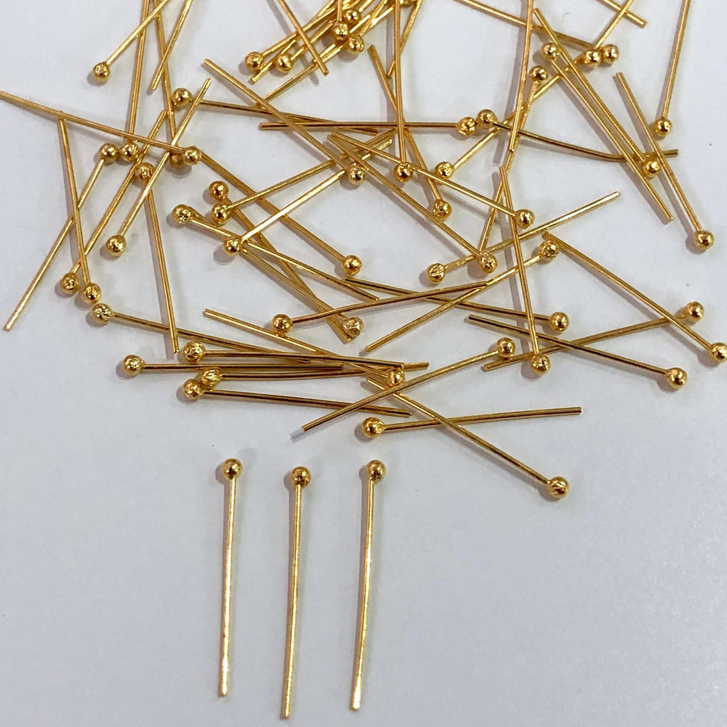 24k Gold Ball Point Headpins, 0.5mm (24 Gauge) by 20mm, 24K Gold Plated Brass Ball Head Pins