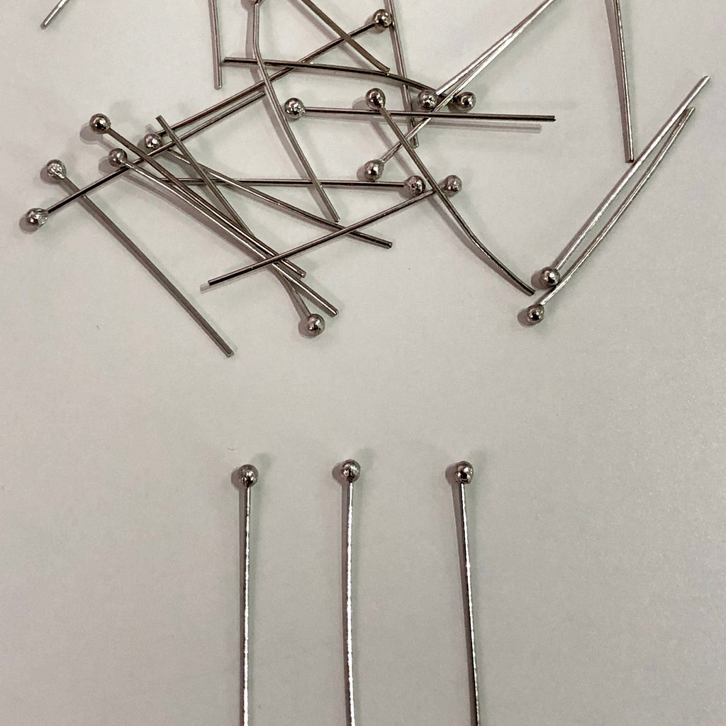 Silver Plated Ball Point Headpins, 0.5mm (24 Gauge) by 30mm, Silver Plated Brass Ball Head Pins