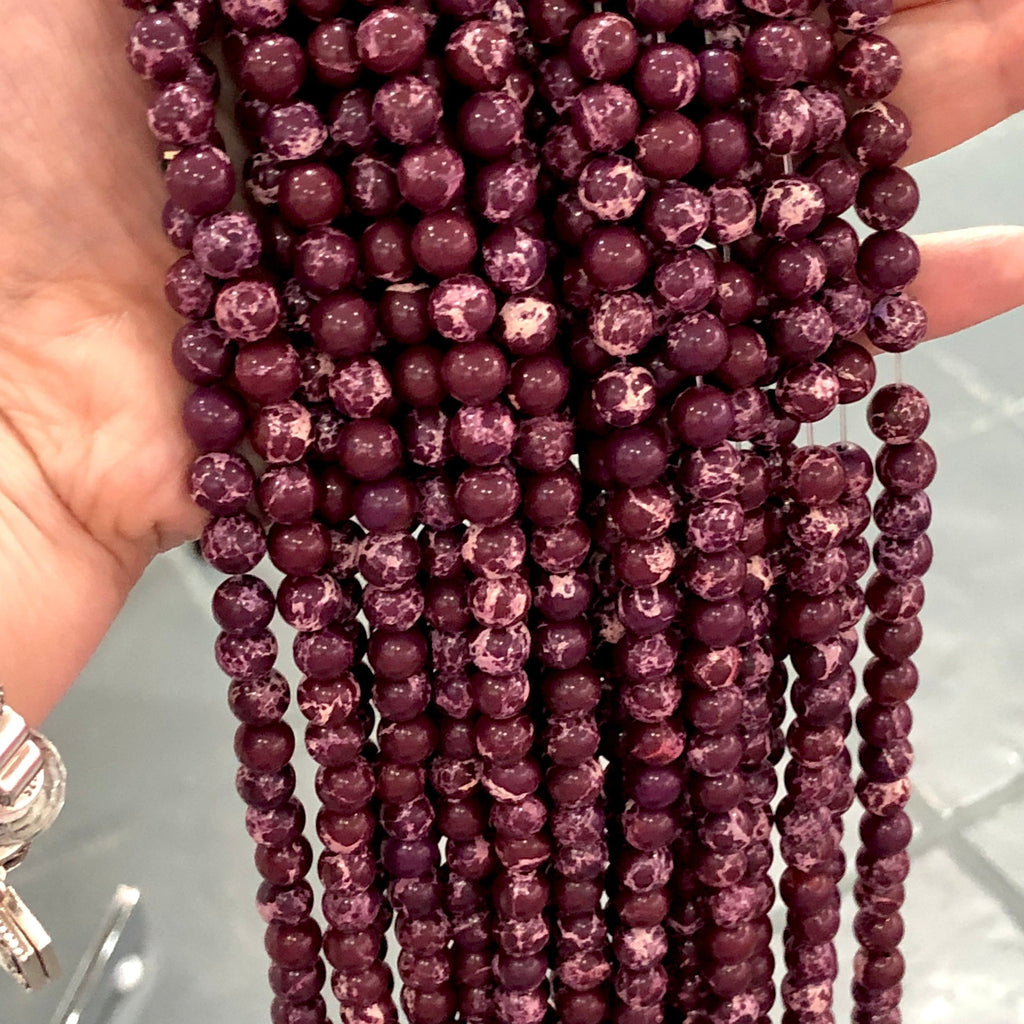 Natural Sea Sediment Jasper 8mm round bead ,47 beads per strand , Beads,Gemstone Beads,Natural Gemstone