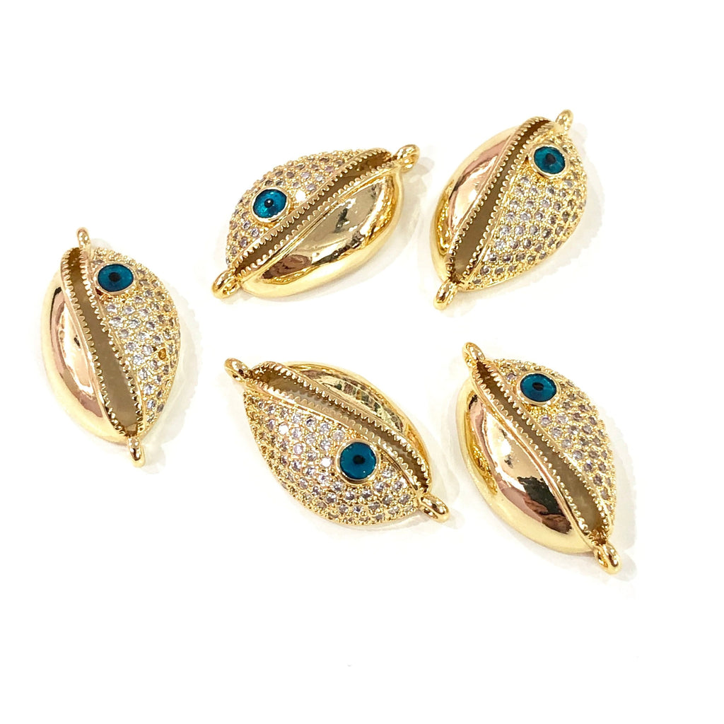 Cowrie Shell  High Quality Zirconia 22Kt Gold Plated Charms, Zirconia Connector Charms,
